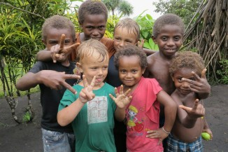 New friends on Tanna Island, Vanuatu, 2016
